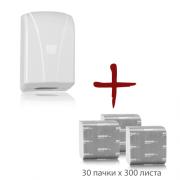 Промо пакет тоалетна хартия на листи + диспенсър